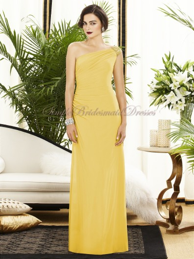 marigold Daffodil One-Shoulder A-line Dropped Draped/Sequin Chiffon Sleeveless Zipper Floor-length Bridesmaid Dress