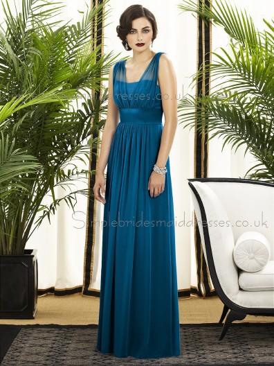Sleeveless Draped/Sash Zipper windsor-blue Empire Floor-length A-line Blue Straps Chiffon Bridesmaid Dress
