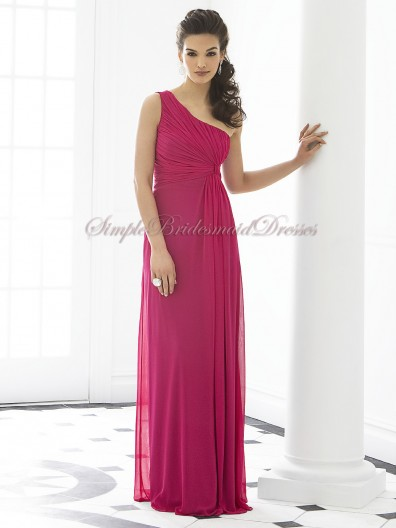 A-line Floor-length tutti-frutti One-Shoulder Sleeveless Chiffon Ruched Fuchsia Zipper Dropped Bridesmaid Dress