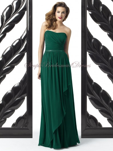 A-line Dark Chiffon Green hunter Zipper Floor-length Sleeveless Dropped Draped/Sash Strapless Bridesmaid Dress