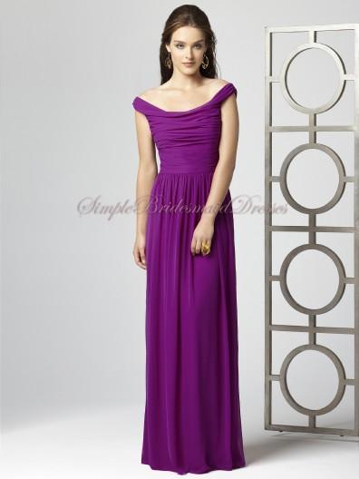 Ruched Natural Zipper Chiffon A-line persian-plum Purple Sleeveless Floor-length Bateau Bridesmaid Dress