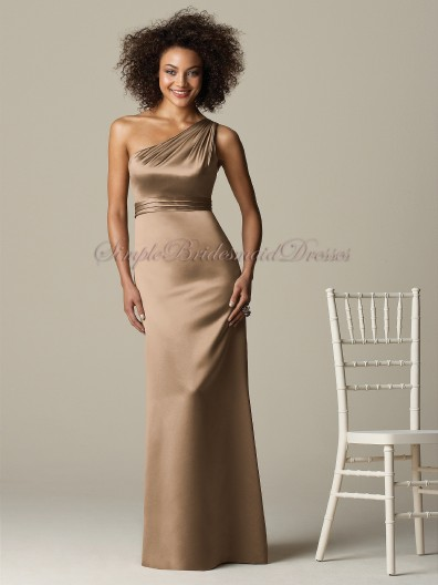 Sash Brown One-Shoulder Floor-length A-line Zipper Satin cappuccino Sleeveless Natural Bridesmaid Dress