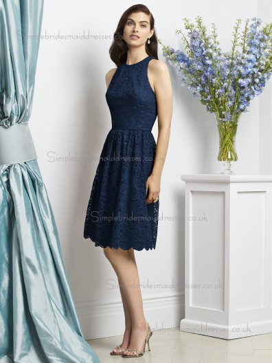 Midnight / Dark Navy Lace A-line Short-length Scoop Sleeveless Natural Lace Bridesmaid Dress