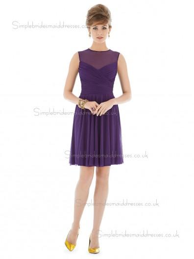 Majestic / Purple Natural A-line Sleeveless Scoop Mini Chiffon Draped Bridesmaid Dress