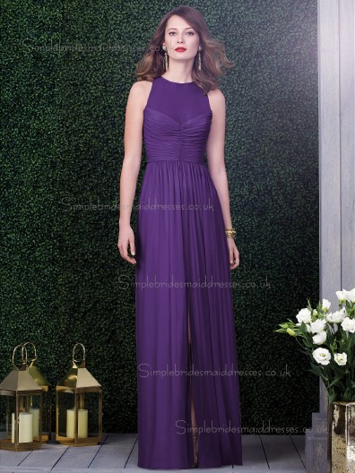 Majestic / Purple Natural Draped Floor-length Chiffon Column / Sheath Sleeveless Scoop Bridesmaid Dress
