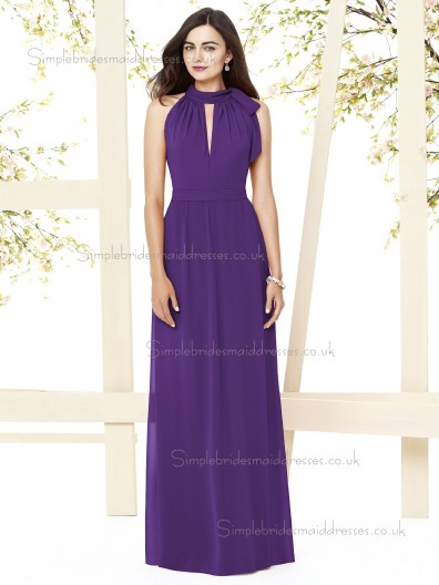 Majestic / Purple Scoop Natural Sleeveless Chiffon Floor-length Column / Sheath Draped Bridesmaid Dress