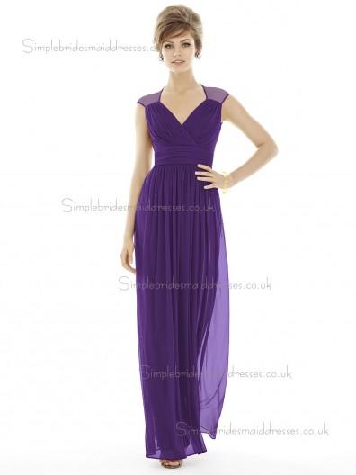 Majestic / Purple Floor-length V-neck Sleeve Column / Sheath Empire Draped Cap Chiffon Bridesmaid Dress