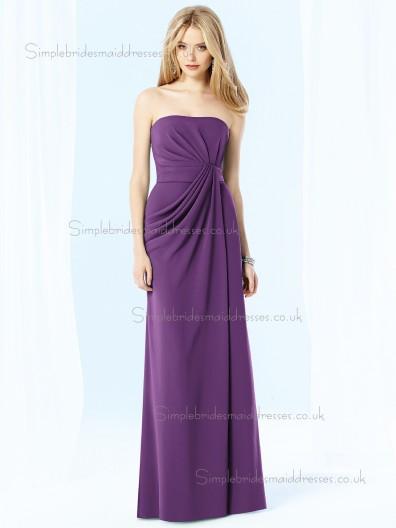African Violet / Purple Draped Bateau Chiffon Empire Sleeveless Floor-length Column / Sheath Bridesmaid Dress