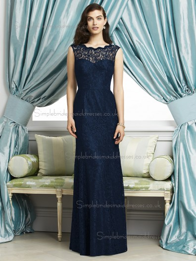 Midnight / Dark Navy Natural Lace Lace Bateau Mermaid Floor-length Sleeveless Bridesmaid Dress