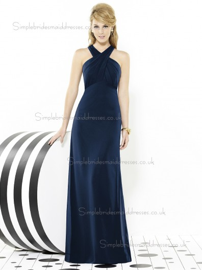 Midnight / Dark Navy Satin V-neck Empire Ruched Mermaid Sleeveless Floor-length Bridesmaid Dress