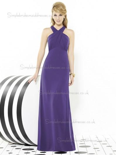 Regalia / Purple Mermaid Chiffon Floor-length V-neck Sleeveless Empire Ruched Bridesmaid Dress