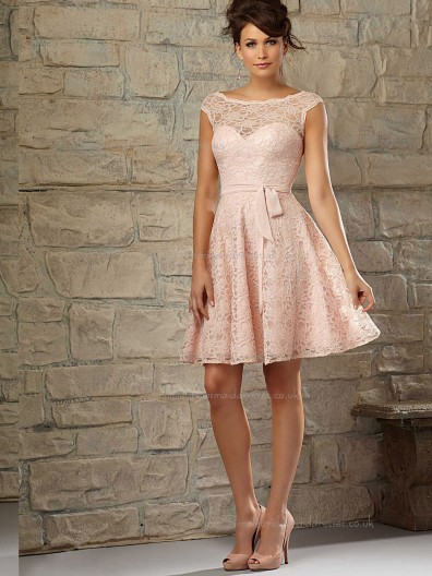 Pink A-line Sweetheart Short-length Lace Natural Bridesmaid Dress