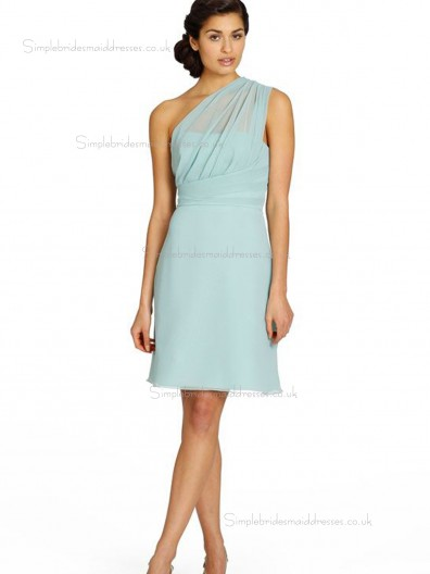 Grape One Shoulder A-line Chiffon Natural Short-length Bridesmaid Dress