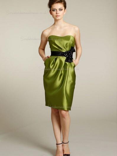 Green Knee-length Empire A-line Satin Bateau Bridesmaid Dress