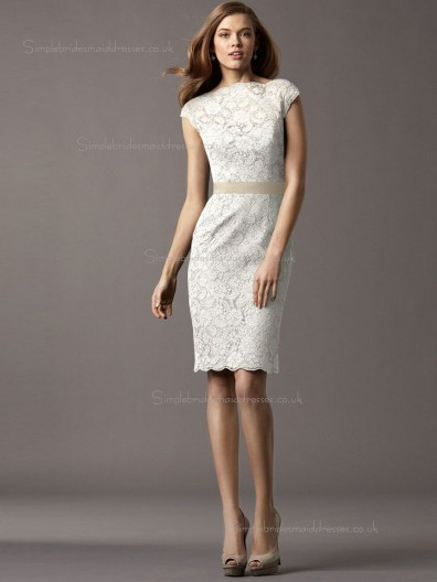 ivory Column / Sheath Lace Bateau Knee-length Natural Bridesmaid Dress