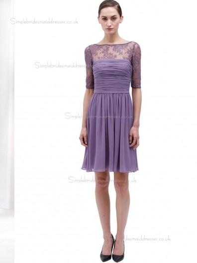 Lilac Chiffon A-line Natural Bateau Knee-length Bridesmaid Dress