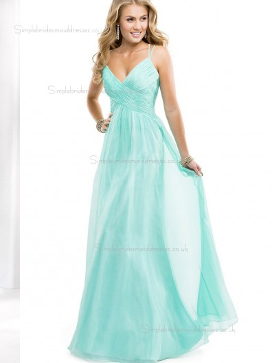 Jade Tulle V-neck Floor-length Empire A-line Bridesmaid Dress
