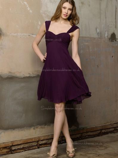 Grape Sweetheart Empire Column / Sheath Knee-length Chiffon Bridesmaid Dress