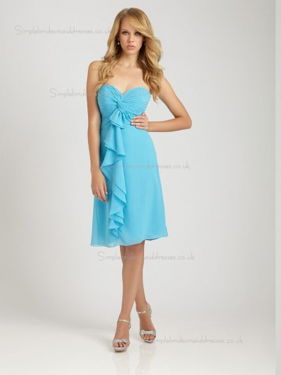 Pool Column / Sheath Sweetheart Knee-length Empire Chiffon Bridesmaid Dress
