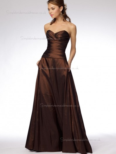 Chocolate Floor-length A-line Empire Sweetheart Satin Bridesmaid Dress