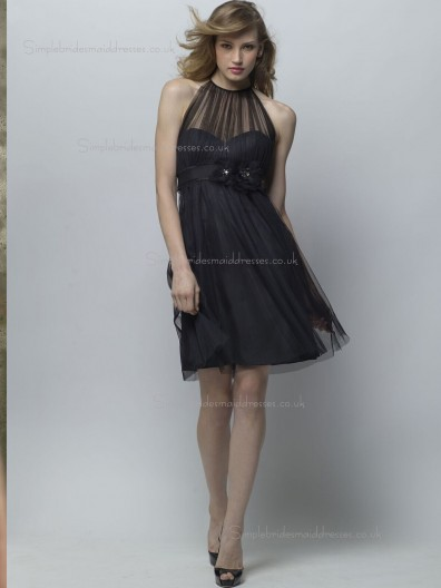 Black Empire Tulle Sweetheart A-line Knee-length Bridesmaid Dress
