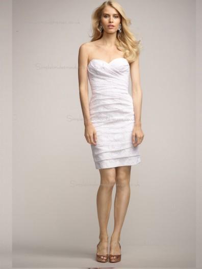 ivory Lace Short-length Natural Column / Sheath Sweetheart Bridesmaid Dress