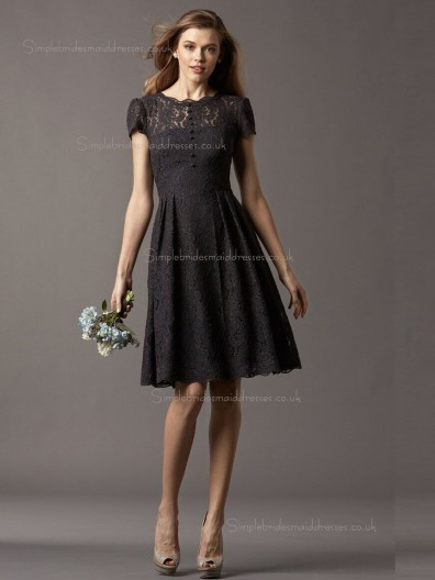 Black Lace A-line Bateau Natural Knee-length Bridesmaid Dress