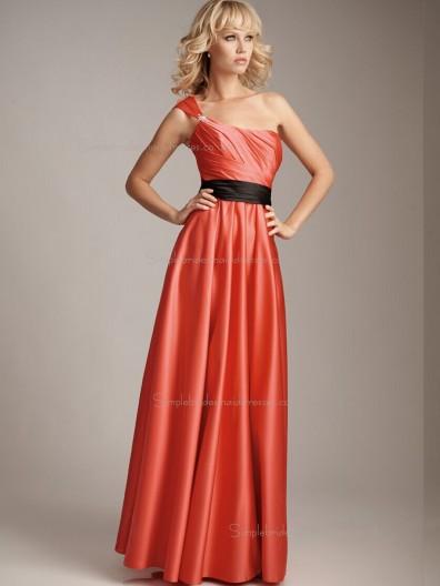 Watermelon A-line Empire Satin Bateau Floor-length Bridesmaid Dress