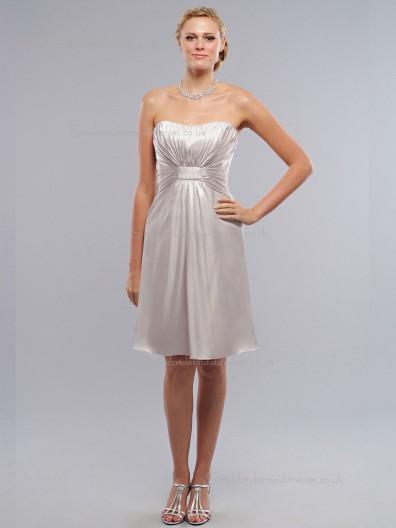 Silver Bateau Knee-length Empire Satin Column / Sheath Bridesmaid Dress