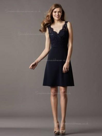 Black Natural Short-length Lace V-neck A-line Bridesmaid Dress