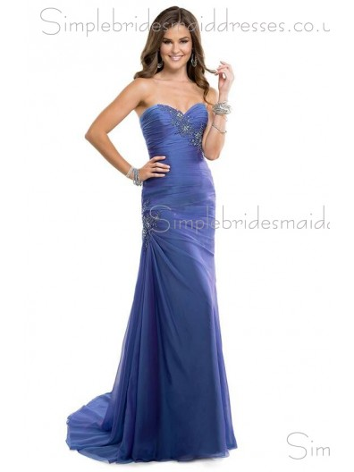 Blue Natural A-line Sweetheart Chiffon Sweep Bridesmaid Dress