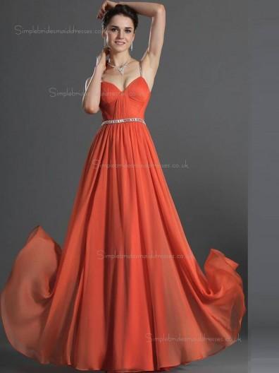 Red A-line V-neck Natural Floor-length Chiffon Bridesmaid Dress