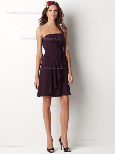 Grape Bateau Empire Short-length A-line Chiffon Bridesmaid Dress