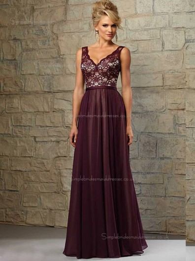 Grape A-line Natural V-neck Floor-length Lace Bridesmaid Dress