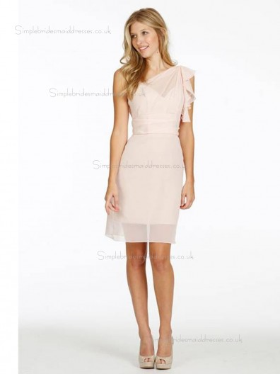 Pink Chiffon Knee-length Column / Sheath Empire One Shoulder Bridesmaid Dress