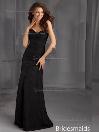 Black Column / Sheath Sweetheart Natural Satin Floor-length Bridesmaid Dress