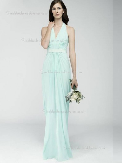 Green V-neck Empire Floor-length Column / Sheath Chiffon Bridesmaid Dress