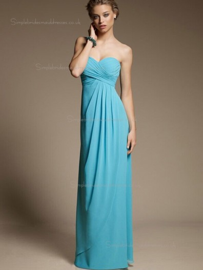 Pool Column / Sheath Floor-length Sweetheart Empire Chiffon Bridesmaid Dress
