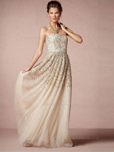 Champagne A-line Tulle Bateau Floor-length Natural Bridesmaid Dress