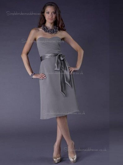 Gray Natural Knee-length Sweetheart A-line Chiffon Bridesmaid Dress
