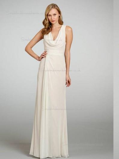 ivory Empire Floor-length Column / Sheath Chiffon V-neck Bridesmaid Dress