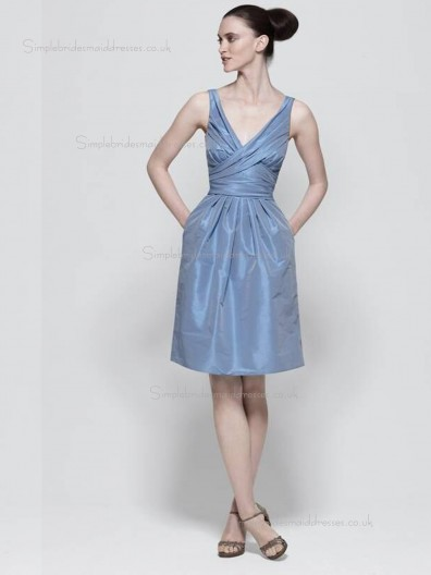 Lavender Knee-length Column / Sheath Taffeta V-neck Natural Bridesmaid Dress