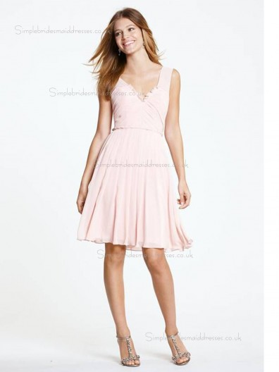 pink Natural A-line V-neck Knee-length Chiffon Bridesmaid Dress
