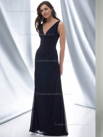 Dark Navy Column / Sheath V-neck Floor-length Empire Chiffon Bridesmaid Dress
