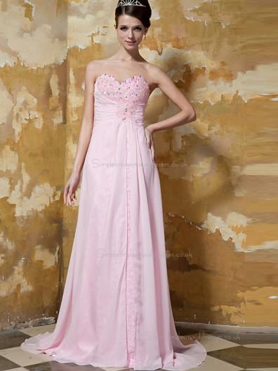 Pink Empire Sweetheart Sweep Chiffon A-line Bridesmaid Dress