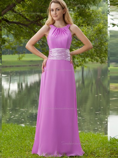 Lilac Floor-length Chiffon Empire A-line Scoop Bridesmaid Dress