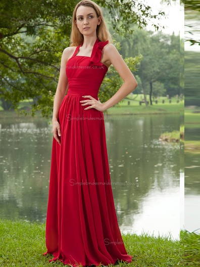 Red Halter A-line Empire Floor-length Chiffon Bridesmaid Dress