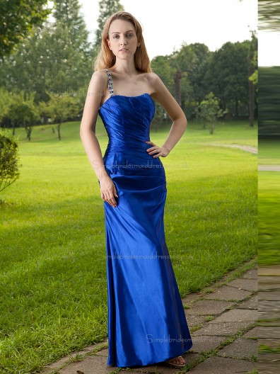 Royal Blue Bateau Natural Floor-length Column / Sheath Taffeta Bridesmaid Dress