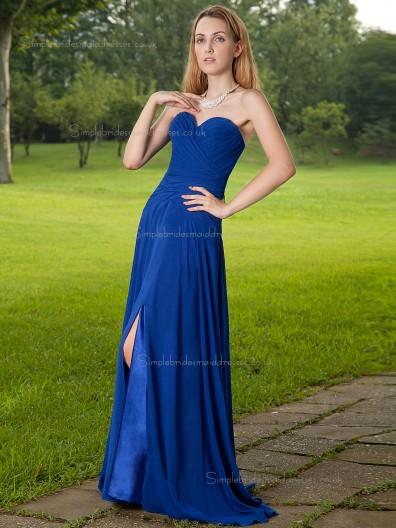 Royal Blue Sweetheart A-line Natural Sweep Chiffon Bridesmaid Dress