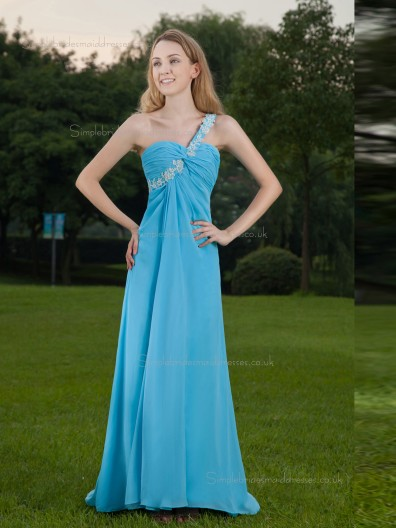 Blue Empire Sweetheart Chiffon Floor-length A-line Bridesmaid Dress